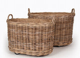 Oval Rattan Log Baskets On Wheels