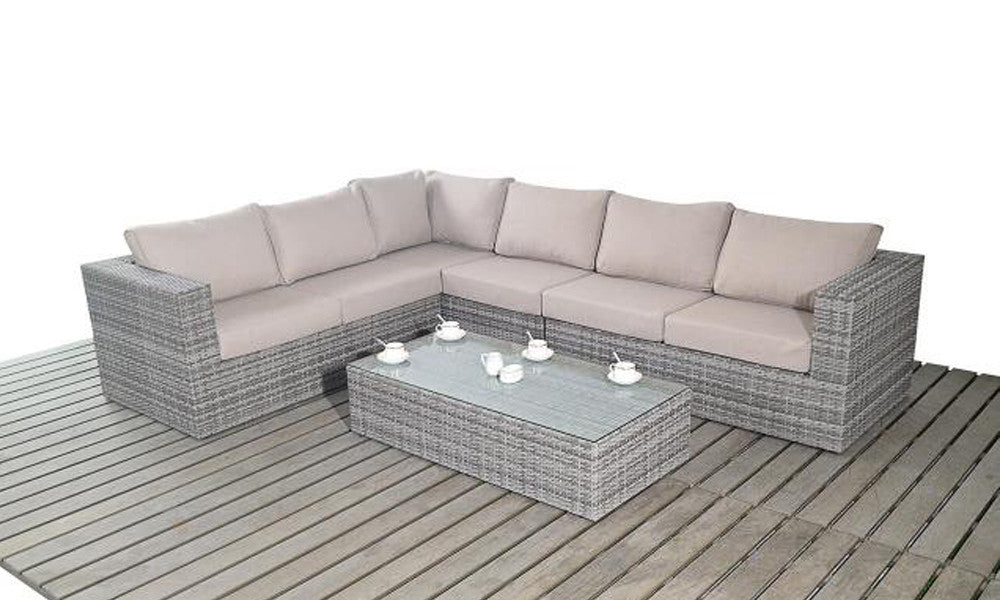 Large Luxury Rattan Garden Corner Sofa