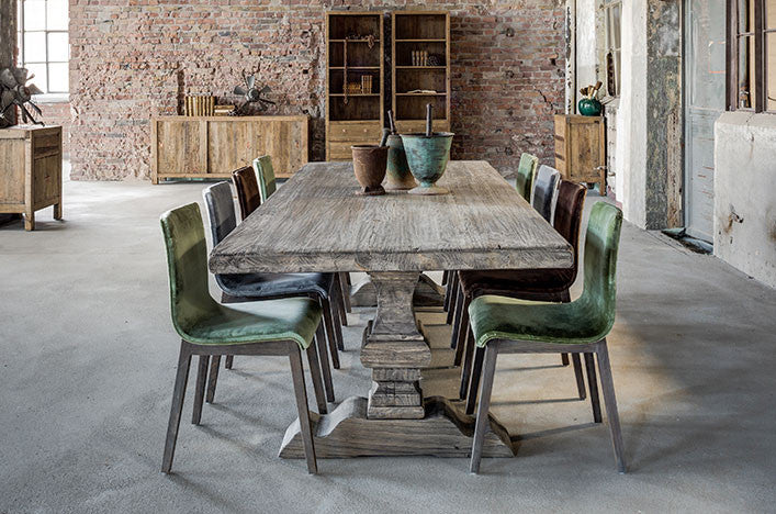 Column Leg Dining Table in Grey Wood