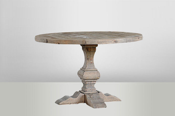 Natural Round Dining Table With Column Leg