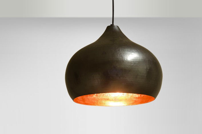 Copper Pendant Apple Light