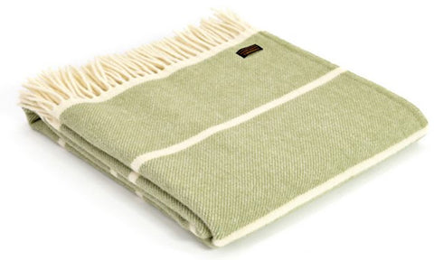 Lambswool Green Broad Stripe Throw