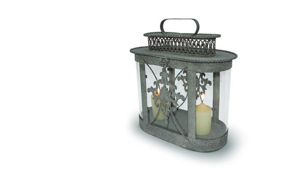 Grey Vintage Inspired Oval Lantern