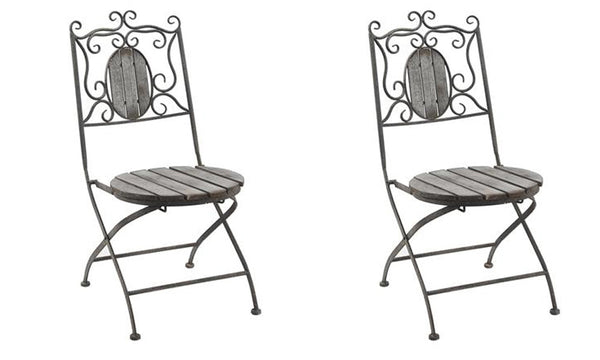 Two Antique Metal Folding Chairs