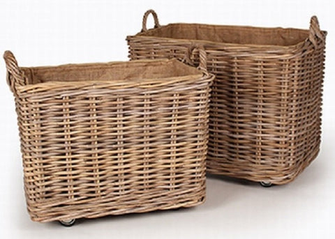 Rattan Log Baskets On Wheels