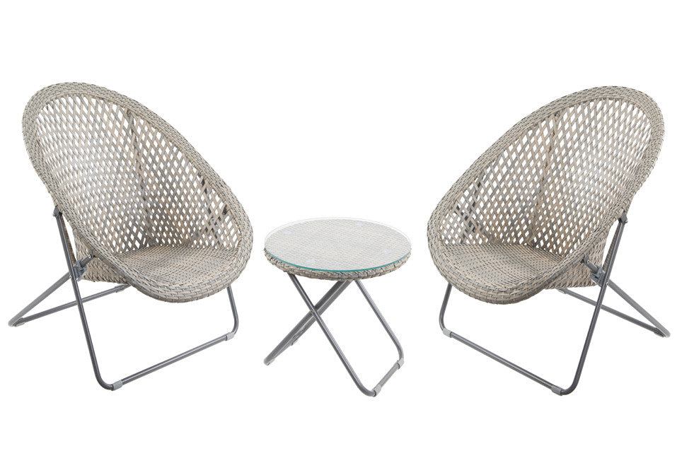 Faux Rattan Folding Lounge Set
