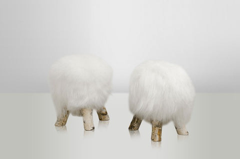 Long White Sheepskin Stool