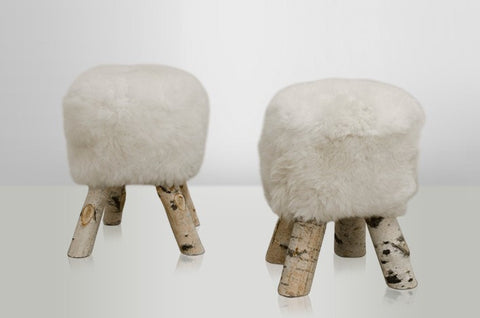 Short White Sheepskin Stool