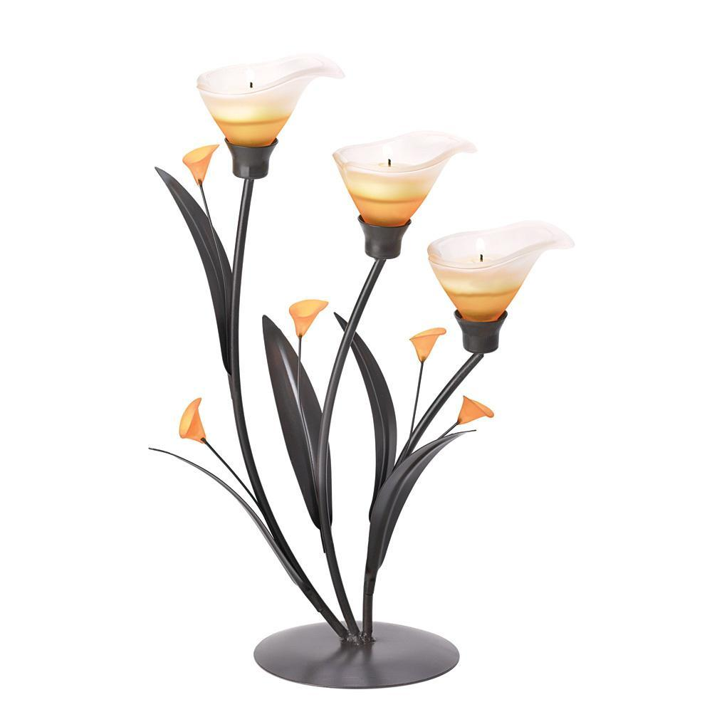 Amber Lilies Tealight Holder 10038947-Home & Garden-Gallery of Light-ILife Store