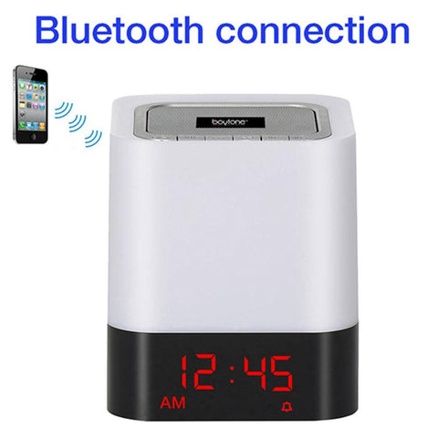 Boytone BT-83CR Portable FM Radio Alarm Clock Wireless Bluetooth 4.1 Speaker, 3-Way