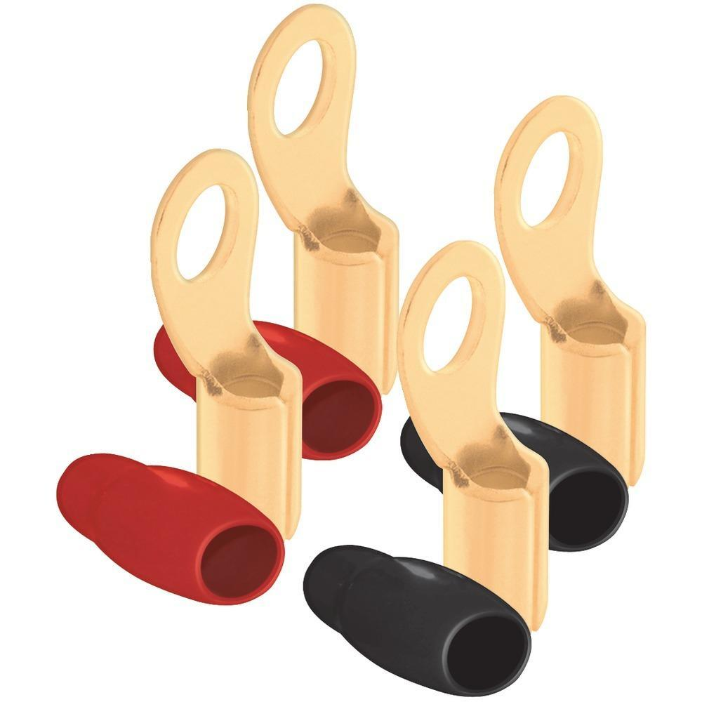 DB LINK RT4 4-Gauge 5-16 Ring Terminals, 4 pk (Gold Plated, 2 Red & 2 Black)-Consumer Electronics-DB LINK-ILife Store