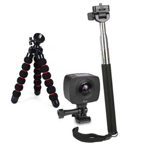 GIGABYTE JOLT Duo 360 4MPx2 1920x960 Dual Lens Sports Action Camera Kit w-Tripod Selfie Stick & Monopod Adapter