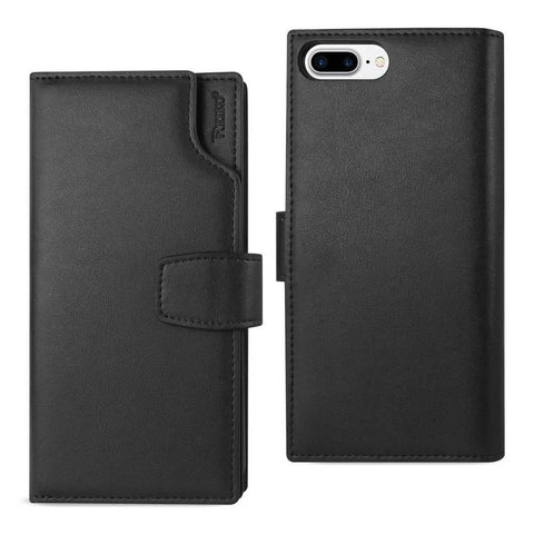 Reiko iPhone 8 Plus- 7 Plus Genuine Leather Wallet Case With Open Thumb Cut In Black