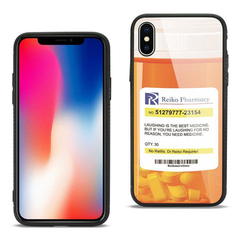Reiko iPhone X Hard Glass Design TPU Case With Pill Container