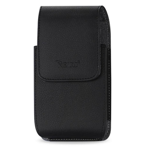Reiko Leather Vertical Pouch With Embossed Reiko Logo And Simple Design In Black (5.8X3.2X0.7 Inches)