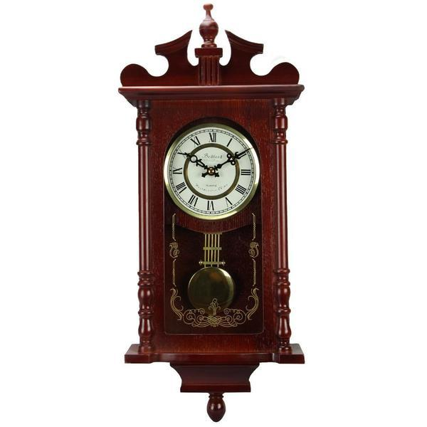 Bedford Collection Redwood Finish 25 Wall Clock with Pendulum and Chime