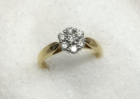 18ct Cluster Diamond Ring TDW .50ct
