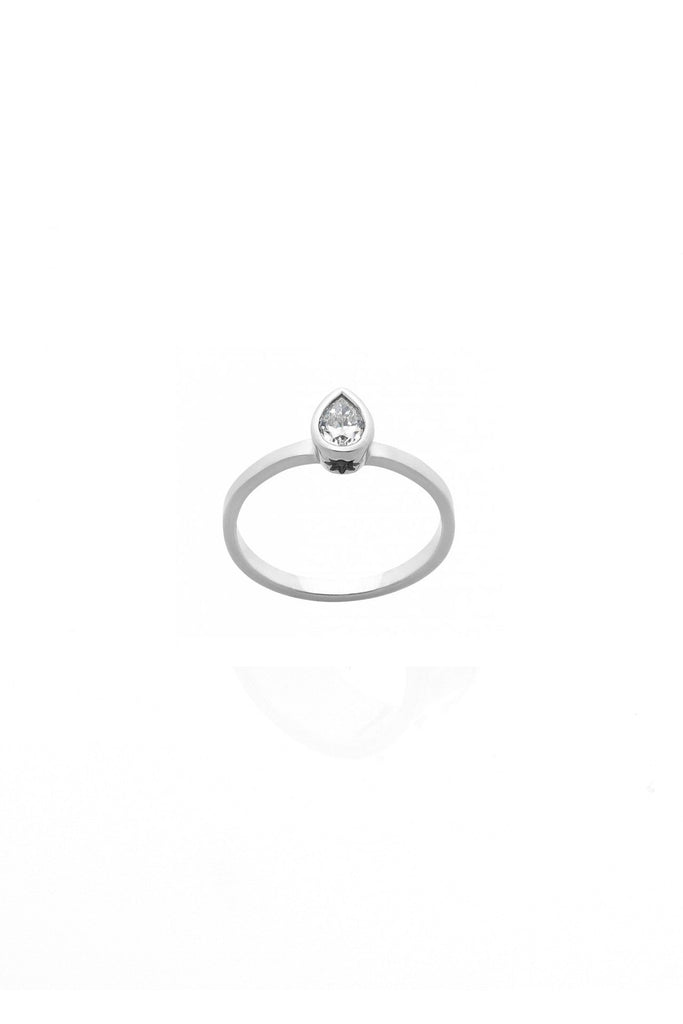 White Gold Pear Diamond Solitaire Ring