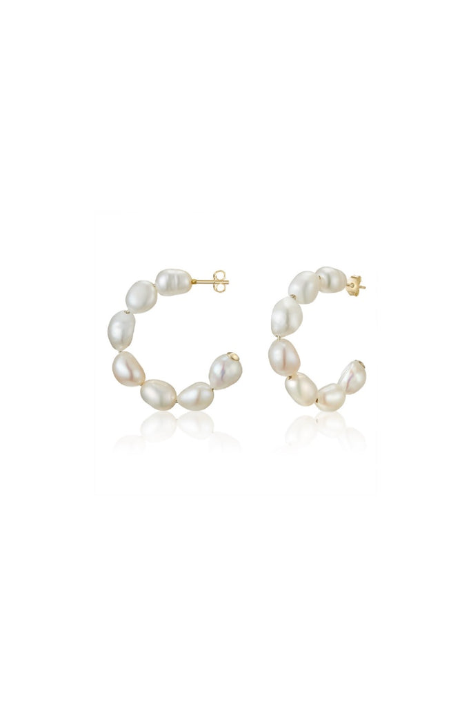 Gold Baroque Pearl Hoops- Petite