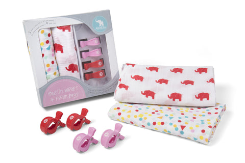 Girls Spots & Elephants Muslin Wraps - Free Shipping