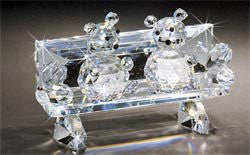 Asfour Crystal 637 3.07 L x 2.04 H in. Crystal Bears On Bench Animals Figurines