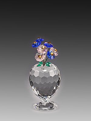 Asfour Crystal 151-27 1.18 L x 2.55 H in. Crystal Vase With Flowers Garden Figurines