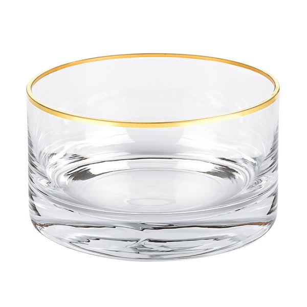 "Badash AF706G Manhattan Gold Accent 5.5"" x h3"" Mouth Blown Lead Free Crystal Bowl"