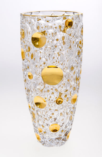 Bohemia Bubble Design Glass Flower Vase with Gold