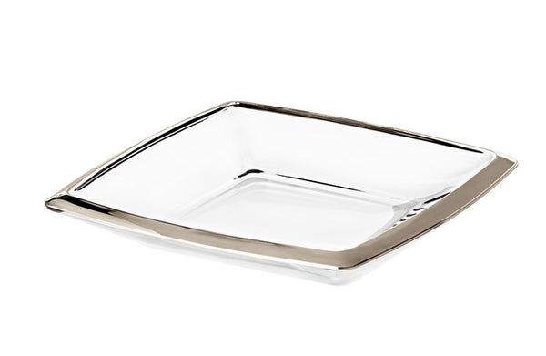 "Majestic Gifts E63532 Quality Glass Centrepiece Tray with Platinum Band, 11"" x 11"""