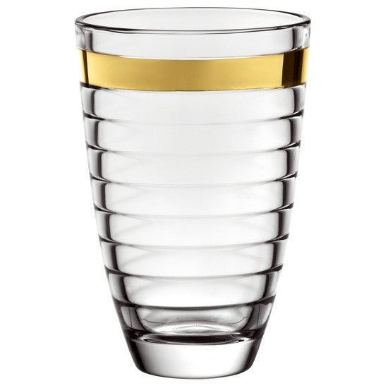 "Majestic Gifts E64426 Quality Glass Vase with Gold Band, 9.5""H"