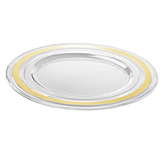 "Majestic Gifts E65271-S2 Quality Glass Charger Plate with Gold Band, 12.6""D, Set of 2"