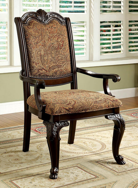 Bruce Traditional Arm Chair in Brown Cherry