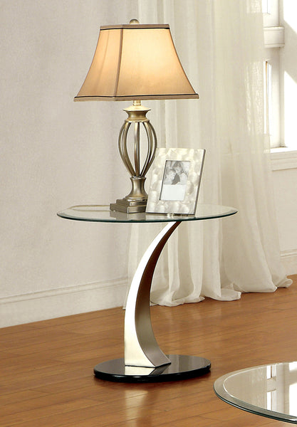 Beatrice Contemporary End Table with Satin Plating