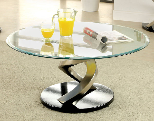 Calli Contemporary Coffee Table with Satin Plating