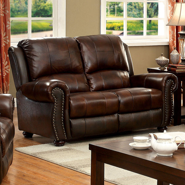 Maurice Transitional Loveseat in Brown