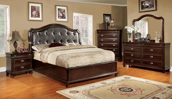 Rauling Transitional Queen Bed in Brown Cherry