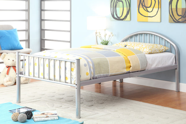 Alloway Contemporary Twin Bed in Silver