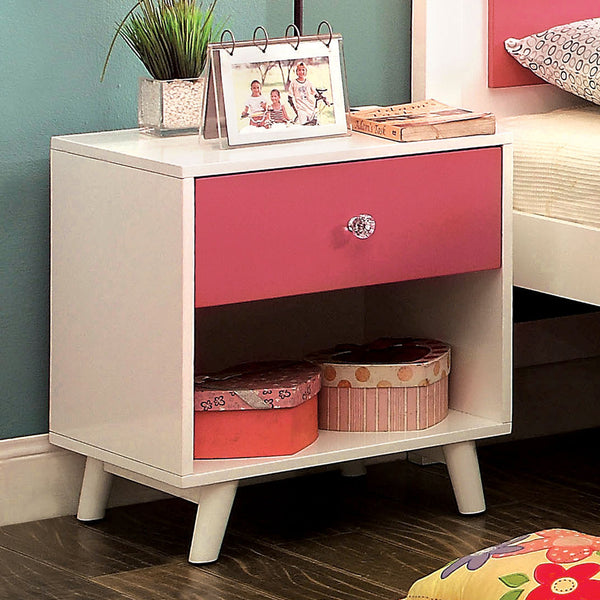 Sharline Contemporary Nightstand in Pink