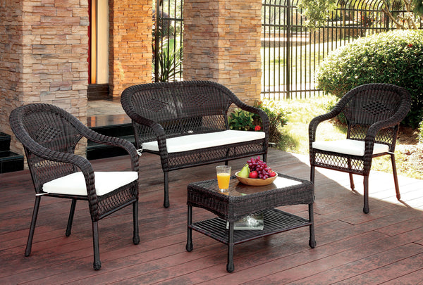 Lemara Contemporary 4-Piece Outdoor Seating Set in Brown