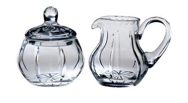 Majestic Gifts JO-142 Hand Cut Crystal Sugar & creamer