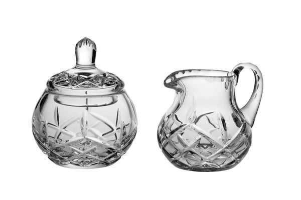 Majestic Gifts PL-142 Hand Cut Crystal Sugar & Creamer