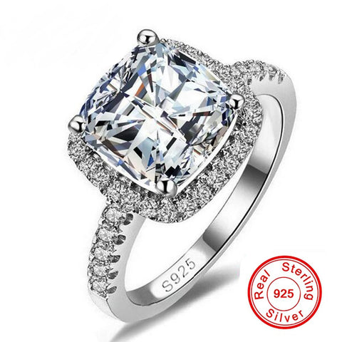 Sterling Silver Simulated Diamond Halo Ring