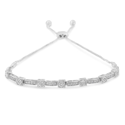 Sterling Silver 1/4ct TDW Diamond Bar Bolo Bracelet