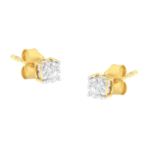 Yellow Plated Sterling SIlver 1/4 CT TDW Diamond Earrings