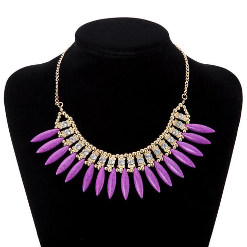 Purple 18K Gold Plated Crystal Necklace