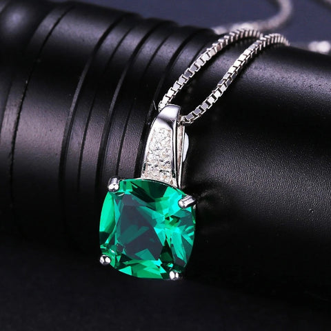 Cushion 3.4ct Created Emerald Solitaire 925 Sterling Silver Pendant Necklace