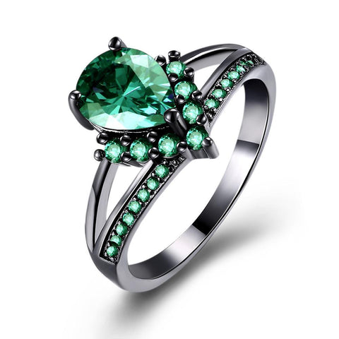 Vintage Black Plated Emerald Berenice Ring