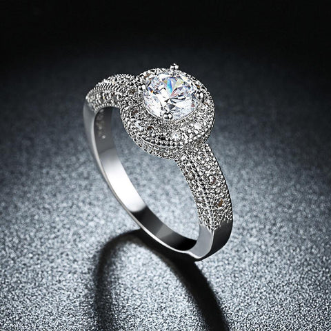 1.90 CTTW Single Crystal Multi Pave Engagement Ring