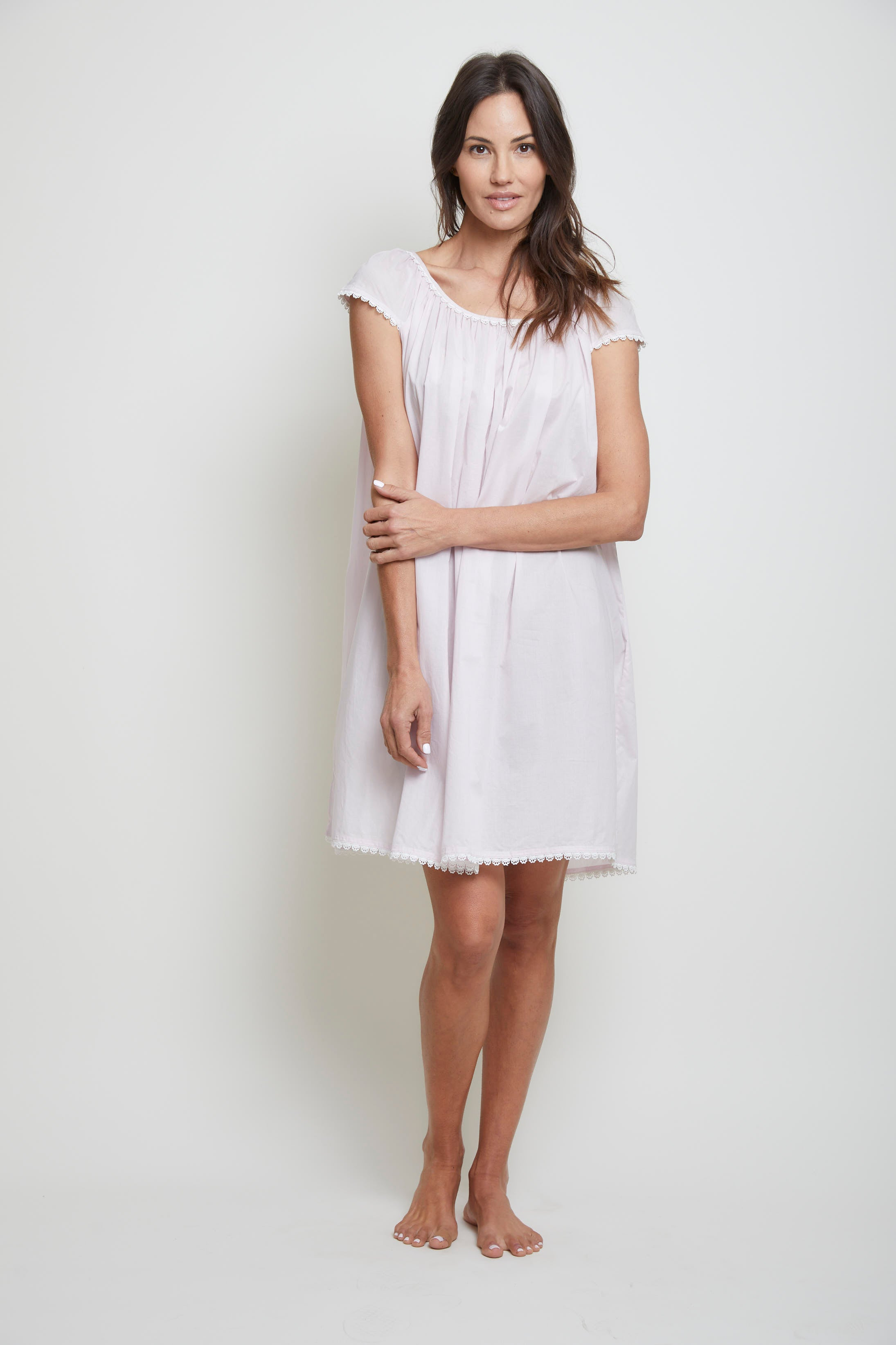 Cotton Nightgown with Flower Trim