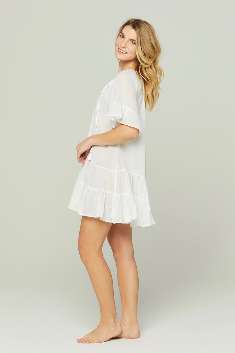 Bell Sleeve Nightie in White